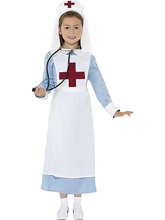 0a78759b74f Girls Nurses Costume Hospital WW1 War Nurse Fancy Dress Costume Outfit 4-12  yrs SMALL 4-6 YEARS: Amazon.co.uk: Clothing