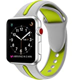 EloBeth Compatible Apple Watch Band 42mm, Soft Silicone Sport Replacement Wrist Strap Stripe Color Splicing for Apple Watch Series 3/2/1 Nike+ Sport Edition Smart IWatch (Stripe-Silver/Green, 42mm)