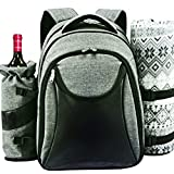 Search : Scuddles Picnic Backpack Basket Wine Cooler - for 4 with Complete Tableware Set, Waterproof Fleece Picnic Blanket