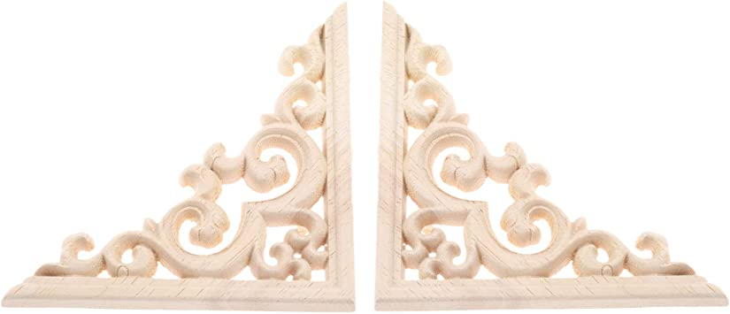 EXCEART Wood Carved Onlay Applique Home Furniture Wooden Carving Corner Decor