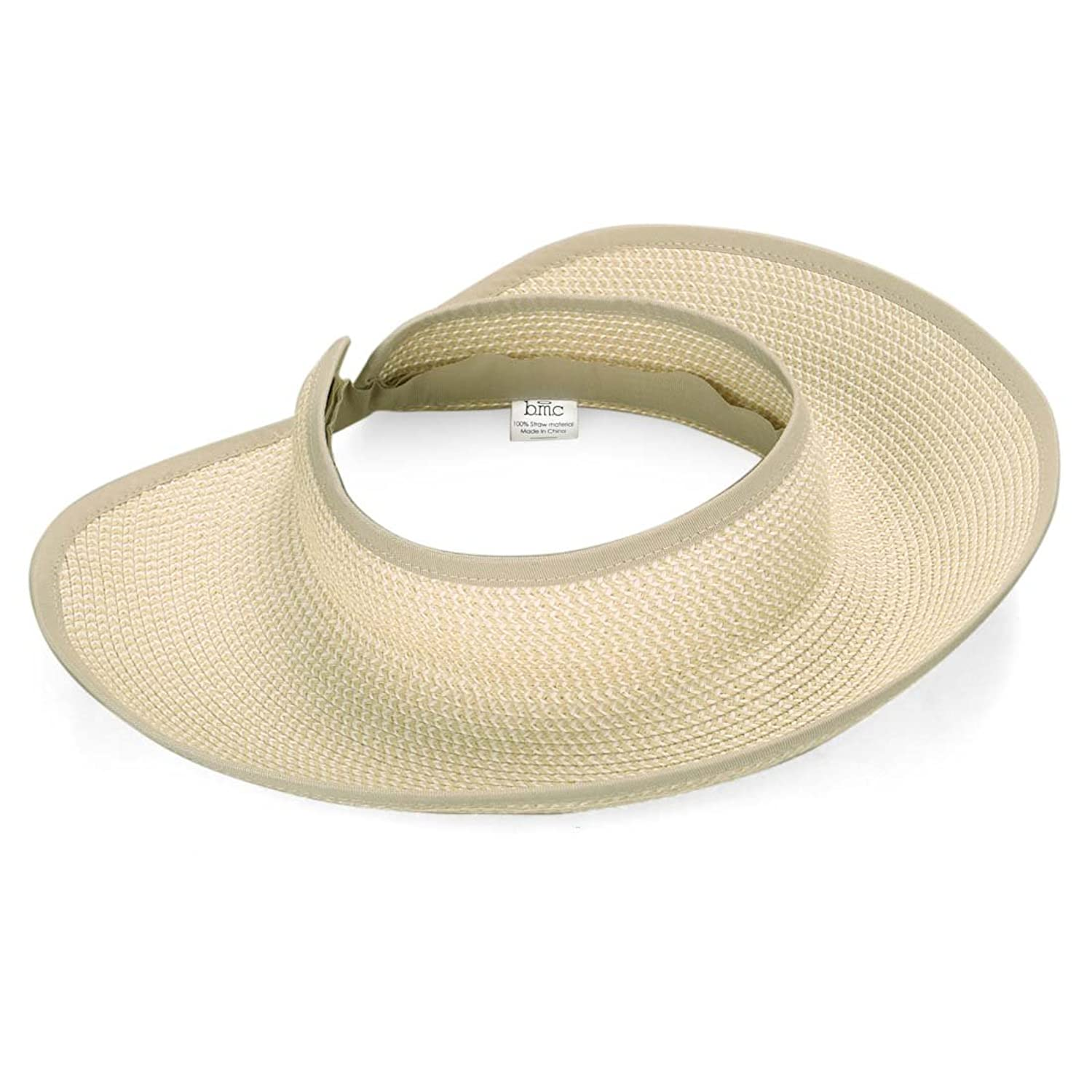 d1aec2657ced8 BMC 2pc Roll Up Collapsible Wide Brim and Visor Style Straw Hats  Black +  Beige at Amazon Women s Clothing store