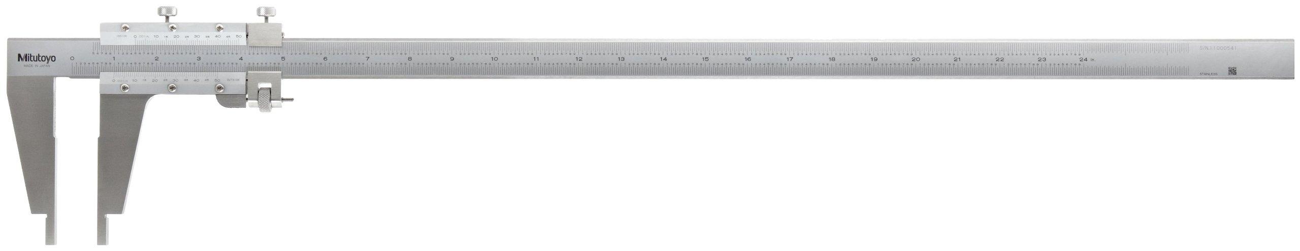 Mitutoyo 160-102 Vernier Caliper, Stainless Steel, Nib Style Jaw, 0-24'' Range, +/-0.002'' Accuracy, 0.001'' Resolution by Mitutoyo