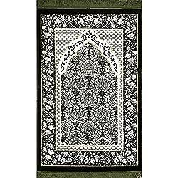 Prayer Rug - Plush Velvet VERY SOFT Islamic Muslim Turkish Janamaz Sajadah Carpet 'Ipek' (Green)