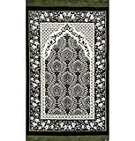 Prayer Rug - Plush Velvet VERY SOFT Islamic Muslim Turkish Janamaz Sajadah Carpet 'Ipek' (Green)