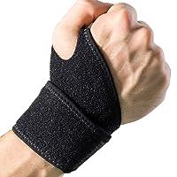 Soporte para muñequera DanziX, paquete de 2 brazaletes ajustables para envoltura atlética para la mano izquierda y derecha para levantamiento de pesas, entrenamiento de fuerza, tendinitis del túnel carpiano Dolor en la muñeca (negro)