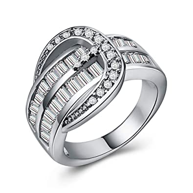 Amazon Com Huitan Eternal Engagement Ring With Love Knot Style