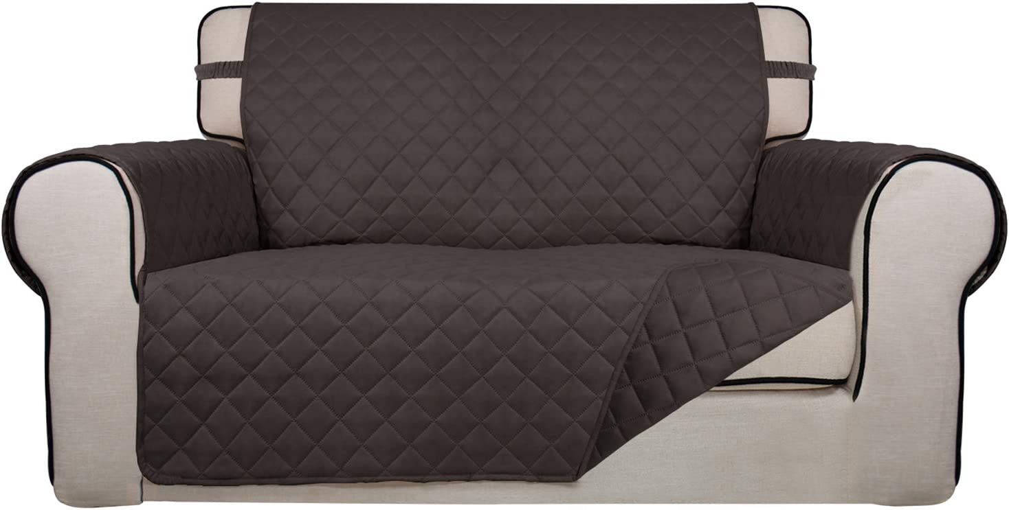 PureFit Reversible Quilted Sofa Cover, Water Resistant Slipcover Furniture Protector, Washable Couch Cover with Non Slip Foam and Elastic Straps for Kids, Pets (Loveseat, Chocolate/Chocolate)