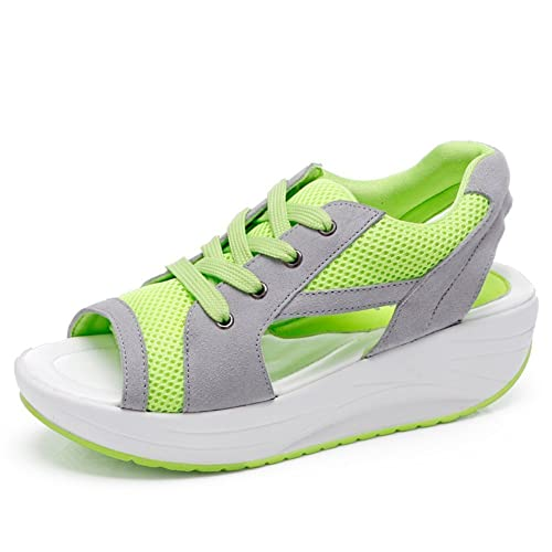 Bdawin Zapatos de Mujer Cuña Sandalias Plataforma Malla Respirable Peep Toe  Shape Ups Andar Deporte Zapatilla 12a71aa980e8