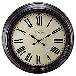 23 H Round Brown Antique Dial Analog Wall Clock with Roman Numerals