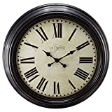 23'' H Round Brown Antique Dial Analog Wall Clock with Roman Numerals