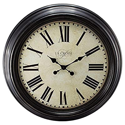 "23"" H Round Brown Antique Dial Analog Wall Clock with Roman Numerals - Accurate quartz time movement Glass lens Metal hands - wall-clocks, living-room-decor, living-room - 61BNRqB9D%2BL. SS400  -"