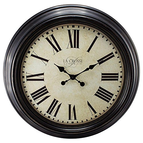 """La Crosse Technology 23"""" H Round Brown Antique Dial Analog Wall Clock with Roman Numerals"""