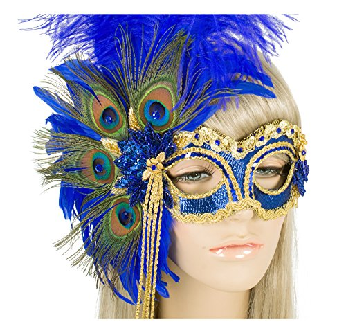 Handmade In USA Masquerade Mask With Peacock Feathers and Crystals (Royal Blue) by Largemouth
