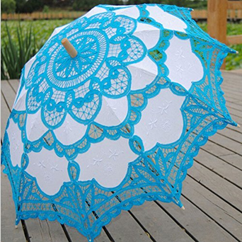 Worldoor® Hot Sale Brand New Blue Lace Parasol Victorian Battenburg Sun Umbrella for Bridal Party Wedding Decoration Photography Props