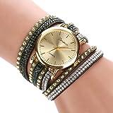 Femme Fashion Rivets strass bracelet en imitation daim pour femme Bracelet Montre