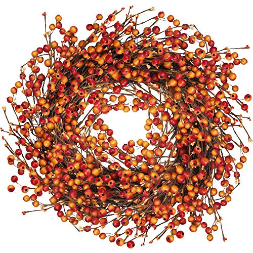 Easy Halloween Wreath (Winlyn Fall Berry Wreath 20 Inches Harvest Door Wreath for Autumn, Halloween, Thanksgiving)