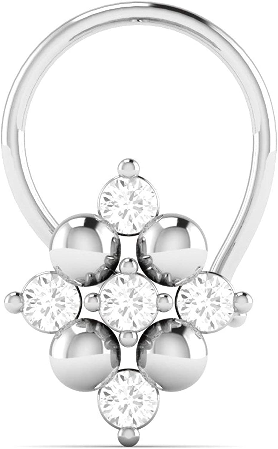 TrioStar Womens 14K White Gold Plated 0.05Ct Diamond Studded Nose Stud