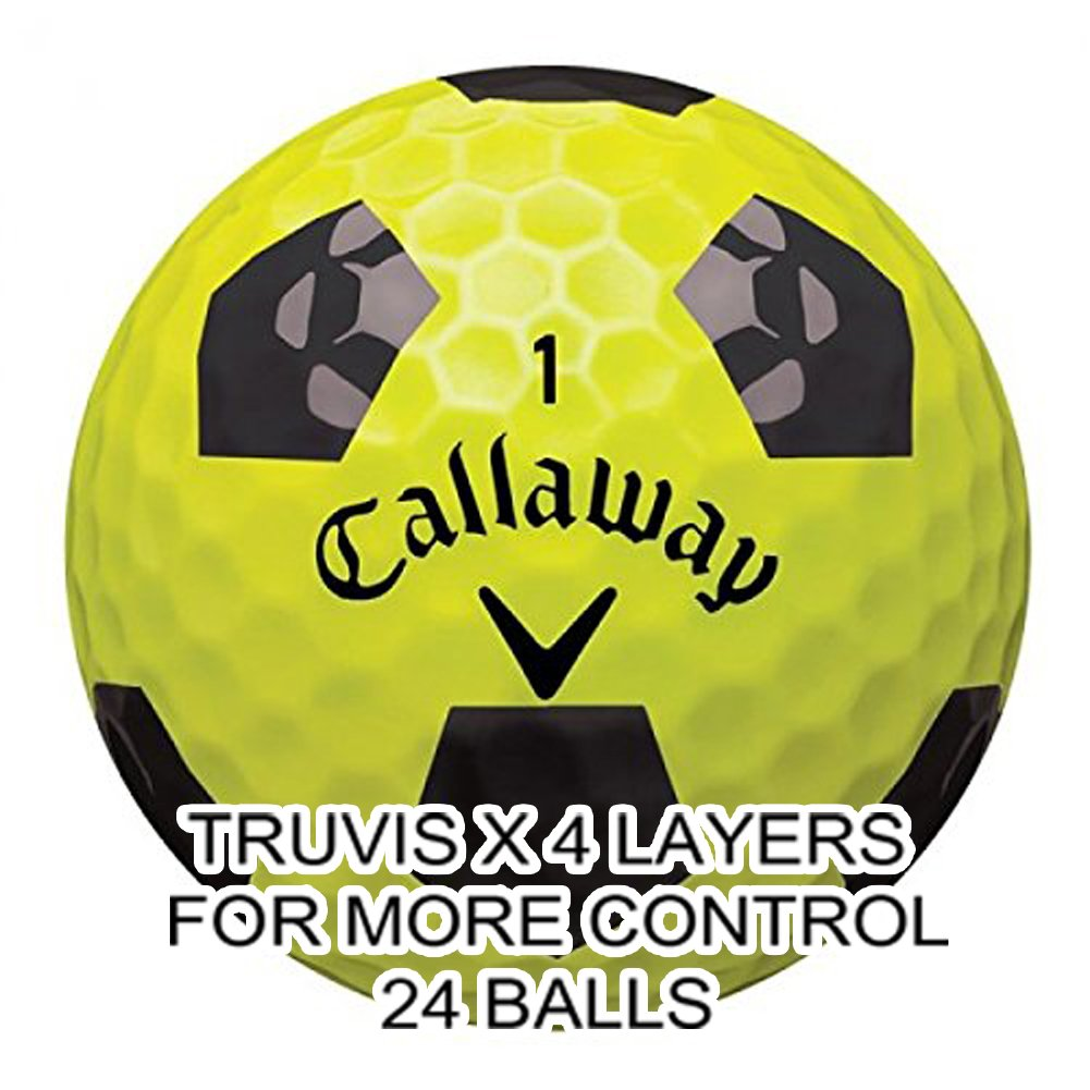New 2017 Callaway Chrome Soft Golf Balls - Made in the USA ( 12 Pack) Choose your Color (X-Truvis Black on Yellow (2 Dozens))