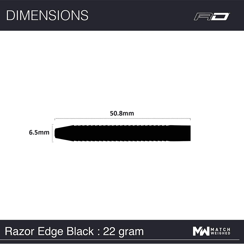 26g oder 28g Tungsten Darts Set mit Flights und Sch/äfte Razor Edge Schwarz 22g 24g