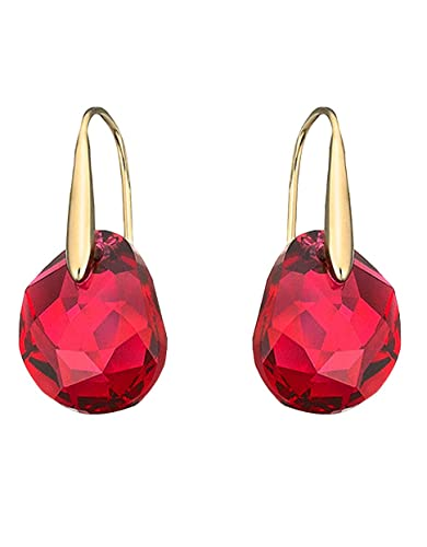 long gold item earrings dangle red rose round hanging classical plated cz for pendant women drop female geometric crystal