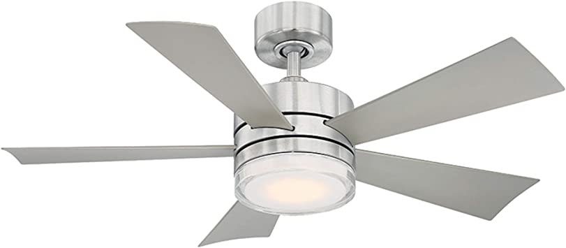 FJ WORLD L44001 silver ceiling fan with 5 curved blades 44 inches Dome Light and free remote