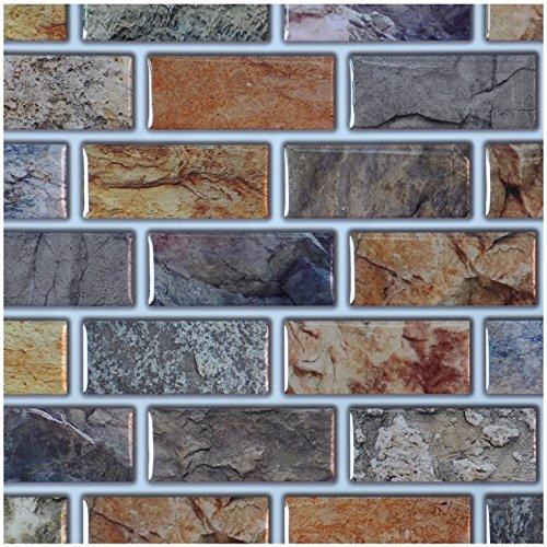 Art3d 10-Piece Peel & Stick Kitchen/Bathroom Backsplash Sticker, 12 ...