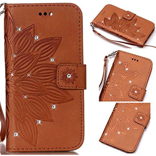Funda Galaxy S5, Carcasa Plegable para Galaxy S5, Funda de piel Samsung S5, Lifetrut Sólido Shiny Sparkle libro de estilo funda de cuero con ranura para tarjetas de cierre magnético soporte funda de t E213-Flor en marrón