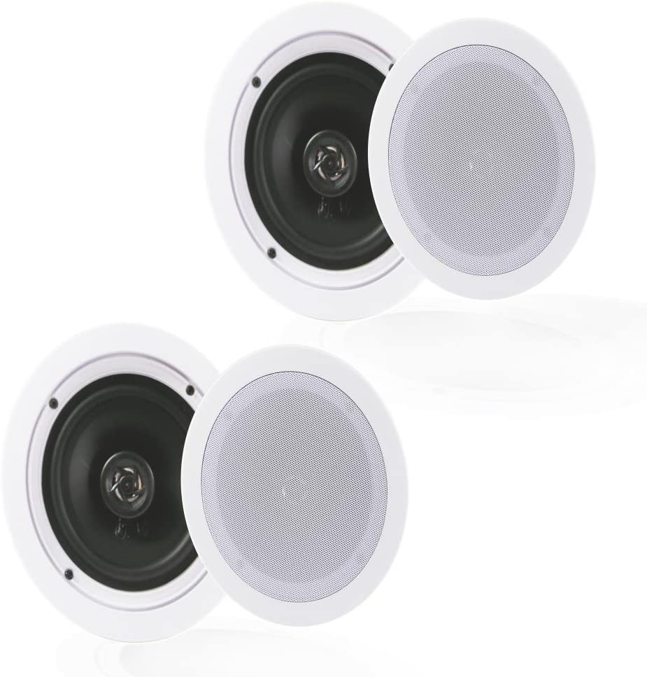"Pyle Pair 5.25"" Flush Mount in-Wall in-Ceiling 2-Way Home Speaker System Spring Loaded Quick Connections Dual Polypropylene Cone Polymer Tweeter Stereo Sound 150 Watts (PDIC1651RD)"