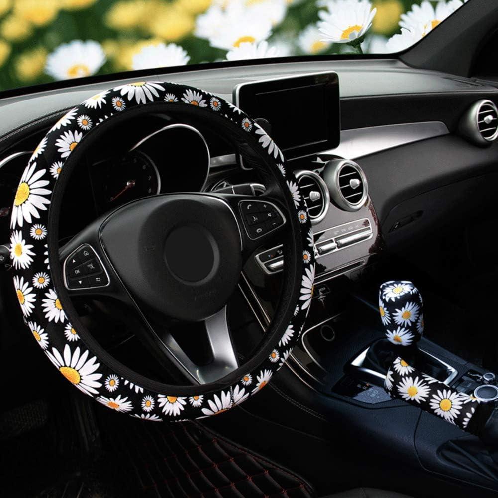 Daisy Flowers ALVAZA Fashion Non-Slip Elastic Steering Wheel Cover Handbrake Cover Gear Shift Cover Car Decoration 3 Pcs Four Seasons Universal Cute Car Accessories for Women and Girls