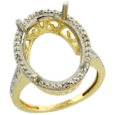 e7746ccdd95c6 Amazon.com: Silver City Jewelry 10k Yellow Gold Semi-Mount Ring ...