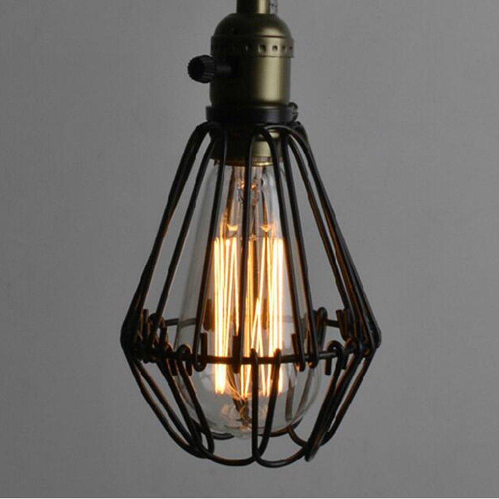 Vintage Ceiling Lamp, SUN RUN Hanging Lighting Edison Multiple Adjustable DIY Ceiling Spider Lamp Light Metal Wire Cage Pendant Lighting Chandelier Modern Chic Industrial Dining Light (12 head)
