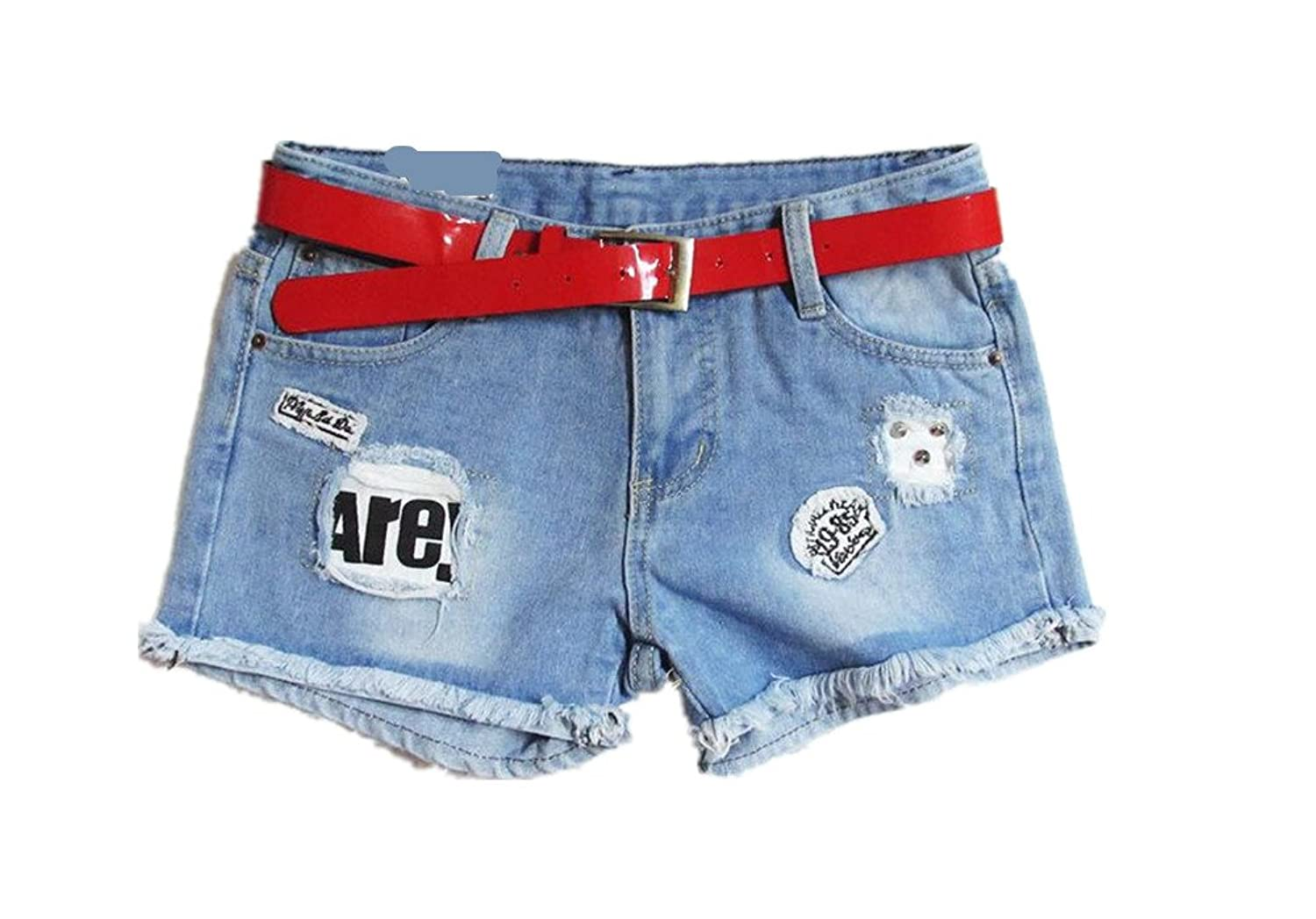 Lingswallow Women Blue Vintage Mid Waist Embroidered Denim Ripped Hole Jean Shorts