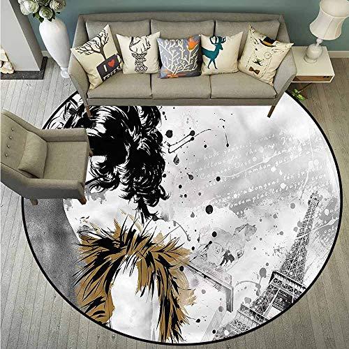 Round Carpet,Modern,Fashion Model Paris Girl,All Season Universal,3'3