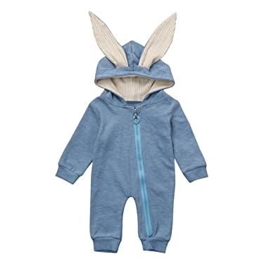 886b8f4b0db2 Girl Boy Hooded Romper Jumpsuit friendG Rabbit 3D Ear Newborn Baby ...