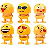 RUDRAYA™ Spring Emoji Shaking Head Dolls Smiley Face Dancing Noddig Toys Theme Party Favors Car Dashboard Table Decoration (6 pcs)