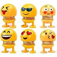 RUDRAYA™ Spring Emoji Shaking Head Dolls Smiley Face Dancing Noddig Toys Theme Party Favors Car Dashboard Table Decoration (6 pcs)