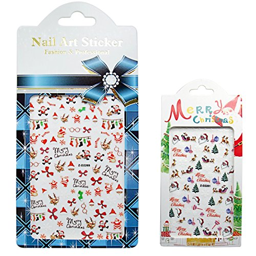 [Waker WK-ST04 Christmas Nail Stickers, 3D Nail Tattoo Art Decals Decoration - 6 Sheets] (Snowman Costume Easy)