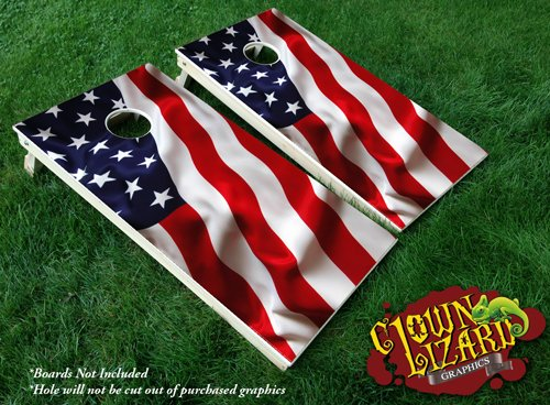 CL0069 American Flag CORNHOLE LAMINATED DECAL WRAP SET Decals Board Boards Vinyl Sticker Stickers Bean Bag Game Wraps Vinyl Graphic Image Corn Hole Patriotic USA by Clown Lizard Graphics