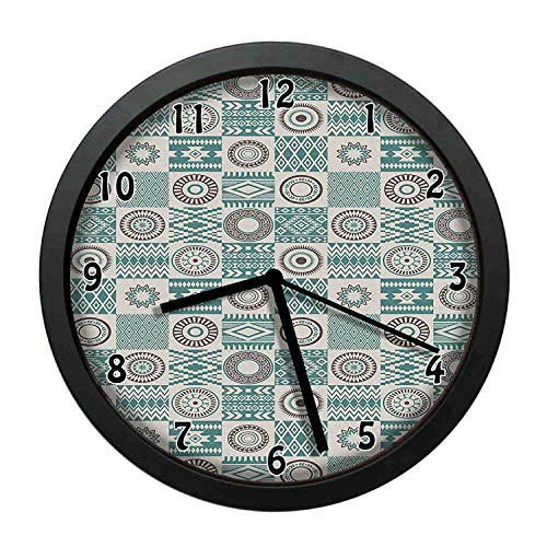 one-six-one Checkered Squares with Ethnic Motifs Rhombuses Circles and Stripes,Ivory Brown and Slate Blue Individuality Modern, Silent Non-Ticking Wall Clock for Living Room Home Office 10in Framed