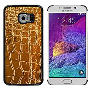 YiPhone /// Prima de resorte delgada de la cubierta del caso de Shell Armor - Leather Crocodile Luxury Luxurious - Samsung Galaxy S6 EDGE SM-G925