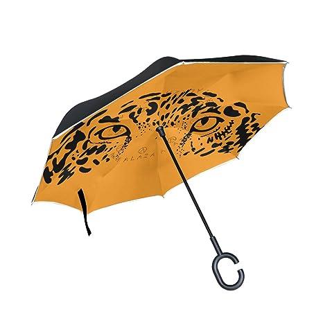 COOSUN Ojos de leopardo de Jaguar en fondo anaranjado de la capa doble del paraguas invertido
