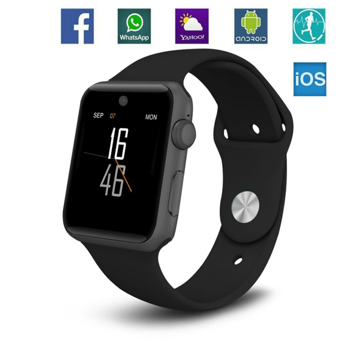 Smartwatch Bluetooth Smart Watch Sport Health Watch Support SIM Card with Camera Pedometer Sleep Monitor Notification Alert Compatible with iOS iPhone Apple Android for Men Women Teens Kids (Black) by Baoxin