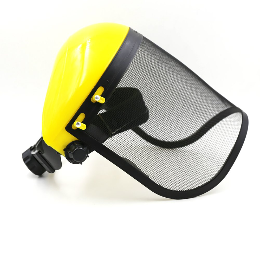 Steel Metal Mesh Visor Safety Helmet Hat Tool for Chainsaw Brushcutter Full Face Protector Mask Yellor