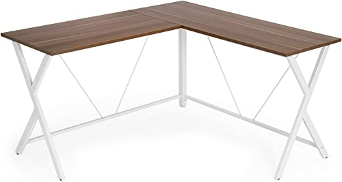 VASAGLE L-Shaped Computer Desk, Corner Office Writing Desk, Gaming Workstation, Sturdy Metal Frame, Easy Assembly, Tools and Instructions Included 57.1 x 51.1 x 29.9 ULWD70WH