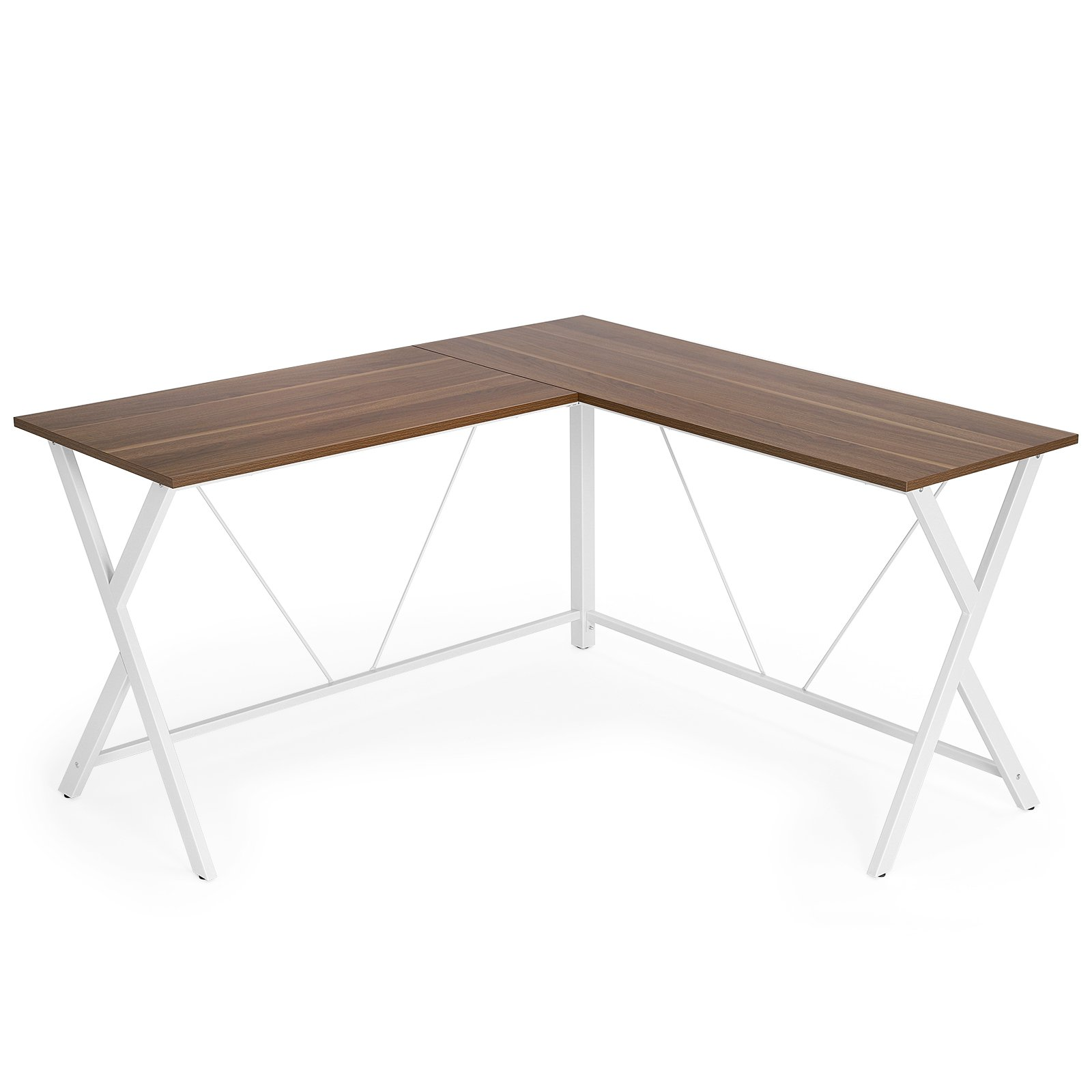 VASAGLE L-Shaped Computer Desk, Corner Office Writing Desk, Gaming Workstation, Sturdy Metal Frame, Easy Assembly, Tools and Instructions Included 57.1''x 51.1'' x 29.9'' ULWD70WH