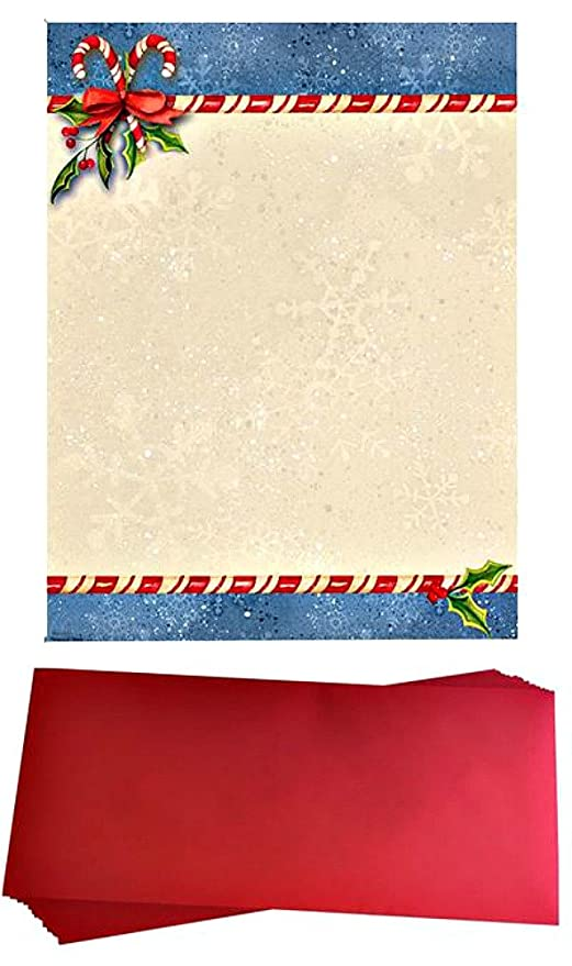 candy cane christmas stationery paper and envelopes 25 sheets of paper 25 red envelopes