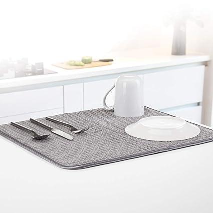 c90b6e81ef20 Minky Dish Drying Mat, Fabric, Gray, One size: Amazon.co.uk: Kitchen & Home