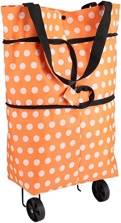 Caddie Poussette de Marché Sac de Courses à Roulettes Tissu Oxford Pliable  Léger Double Usage Chariots Orange Cadeau de Mère pour Faire Les Courses
