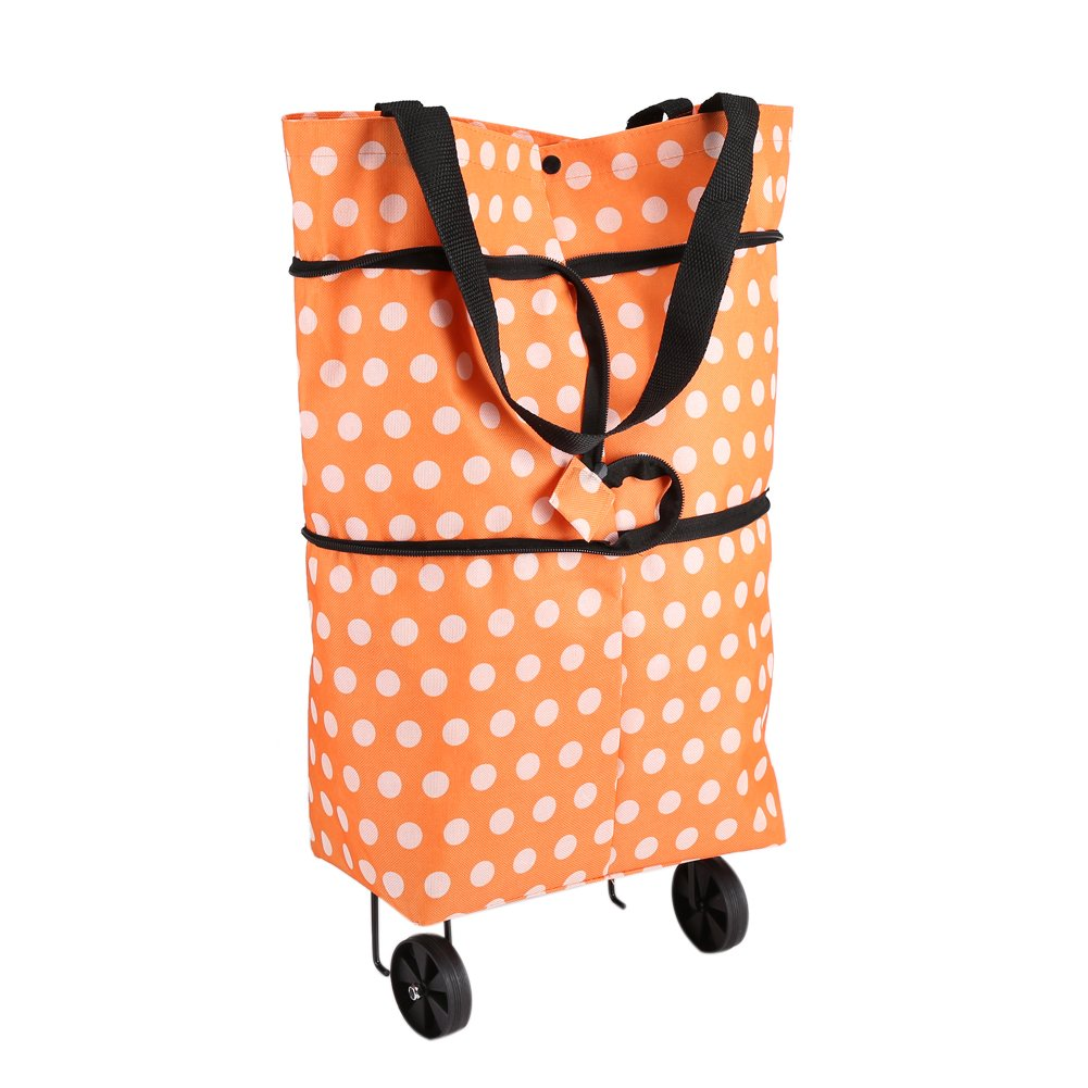 Rolling Shopping Bag Oxford Cloth Foldable Wheel Shopping Bag Lightweight Hard Wearing Dual-Purpose Tote Shoulder Trolleys  (Orange) Zerodis