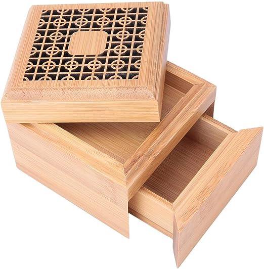 Pssopp Caja Hueca Tallada de Quemador de Incienso Quemador de Incienso de bambú Forma de Cubo Bobinas Caja de Incienso Porta Incienso con cajón y algodón ignífugo para la Sala: Amazon.es: Hogar